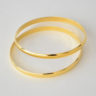 24k Gold Plated Bracelet (24K Gold Plated 6mm Solid Half Round Bangle 2-3/4