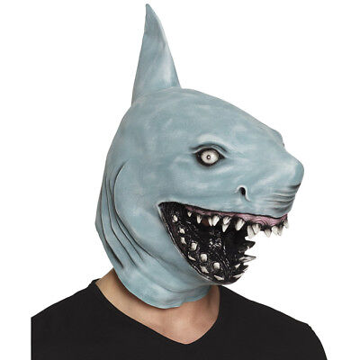 LATEX HAIFISCH MASKE Weißer Hai Fischmaske Haimaske Tier Kostüm Party Deko 00159
