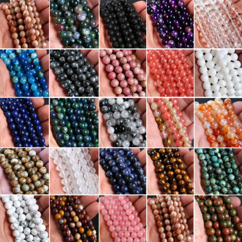 Beads - Natural Gemstone Round Spacer Loose Beads 4mm 6mm 8mm 10mm 12mm Assorted Stones