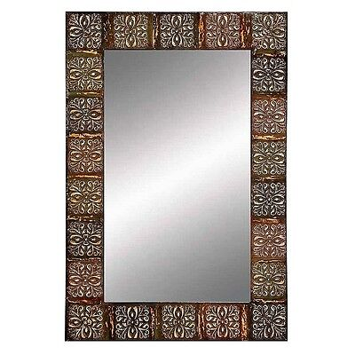 Aspire Embossed Metal Frame Wall Mirror, 36-inch in Multicolor, 74361 New