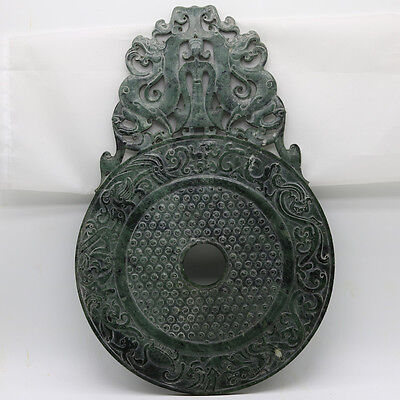 Chinese hand carve jade openwork green Disc Bi with Chi dragon human grains D245