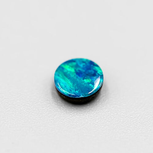 One Bright Green & Blue Australian Doublet Opal 5x5mm Loose Round Shaped