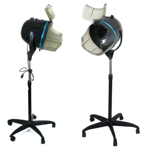 Professional 1300W Adjustable Hooded Floor Hair Bonnet Dryer Stand Up W/Wheels Hair Care & Styling