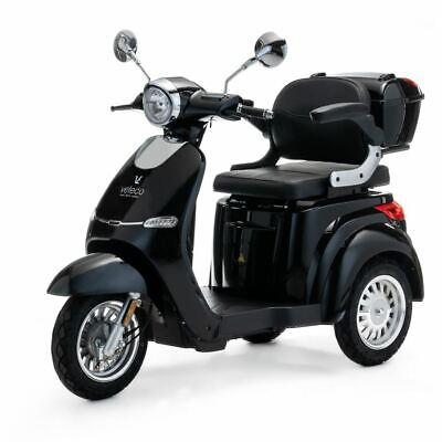 VELECO Cristal Scooter Eléctrico de 3 Ruedas Mayores Minusvalido 1000W NEGRO