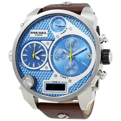 Mens Diesel Big Daddy Oversized Chronograph Watch Brown Leather Band DZ7322 Diesel Mens Leather Watch