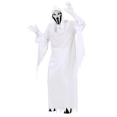 WEIßES GEISTER KOSTÜM & MASKE Halloween Gespenster Männer Herren Robe Party (Herr Weiß Halloween Kostüm)