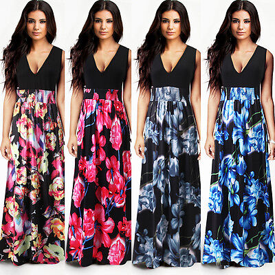 Womens Summer Party Evening Sleeveless Long Sexy Maxi Holiday Dress Plus Size