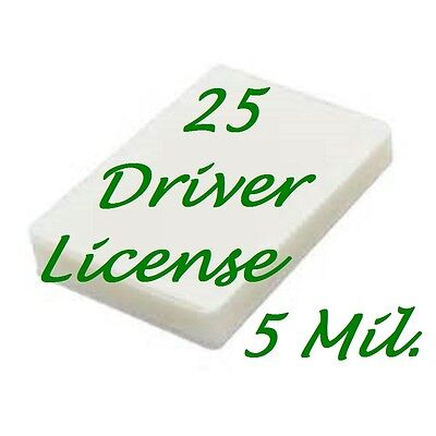 25 Driver License Laminating Pouches Sheets 2-34 X 3-58 5 Mil Scotch Quality
