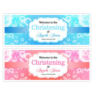 Christening Party Banners (X 2 PERSONALISED CHRISTENING BOY GIRL PINK BLUE BANNERS PARTY WALL)