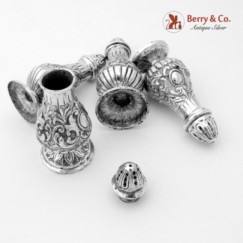 Ornate Heavy Cast Salt Pepper Shakers 800 Silver 4 Pieces Fratelli Coppini 1900