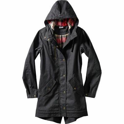 New Kavu Womens Sundowner Shell Jacket Black Waxed Cotton Hooded Coat Sz L