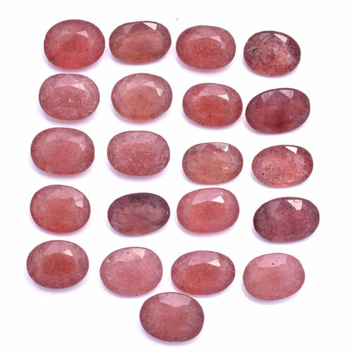 154 Cts Natural Strawberry Quartz Oval Faceted Cut Loose Gemstones Lot 14mm-16mm