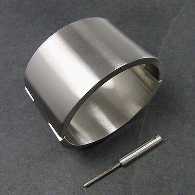 Massiver schwerer Edelstahl Armreif mit Schraubverschluß 40mm Gr.XL