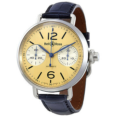 Bell and Ross Vintage Monopusher Chronograph Automatic Ivory Dial Mens Watch
