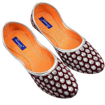 US 6-10 Indian Mojari Traditional Ethnic Khussa Flat Burgundy Color For Women