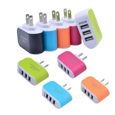 3.1A 3 USB Port Travel Home Wall AC Charger Adapter For Samsung HTC US Plug Nice