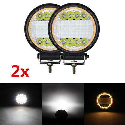 2x Rund 48W Angle Eyes LED Licht Zusatzscheinwerfer Nebelscheinwerfer Universal