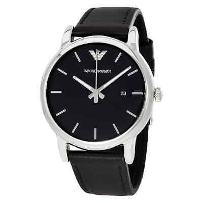 Emporio Armani Classic Black Dial Black Leather Men's Watch AR1692