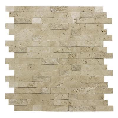 Mosaic Floor Tile - Peel and Stick Classic Linear Brown Stone Mosaic Tile Backsplash Kitchen MTO0217