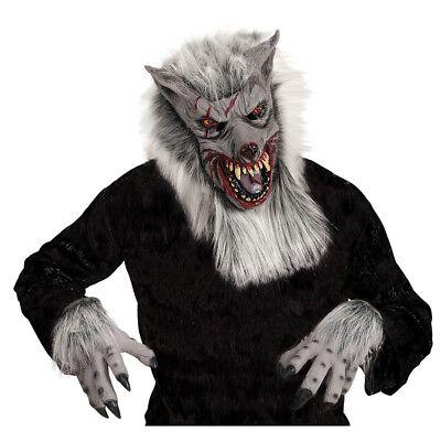 WERWOLF MASKE & HÄNDE # Halloween Werwolfmaske Klauen Krallen Kostüm Party 96578