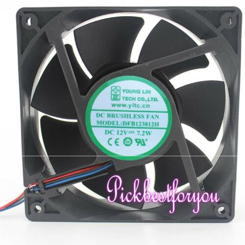 Yong Linxing DFB123812H 12V 7.2W 120*38mm 3pin Frequency fan #M309D QL
