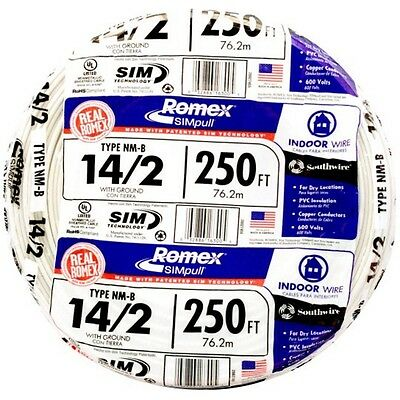 250-ft Roll 14-2 Awg Nm-b Gauge Indoor Electrical Copper Wire Ground Romex Cable