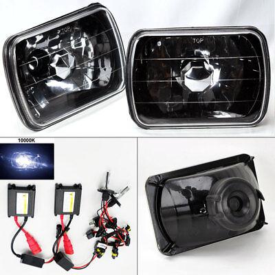 """7X6"""" 10K HID Xenon H4 Black Chrome Glass Headlight Conversion Pair RH LH Chevy"""