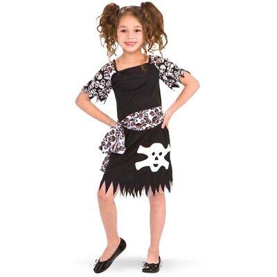 KINDER PIRATIN KOSTÜM 122-128 Totenkopf Kleid Halloween Schädel Piraten Mädchen