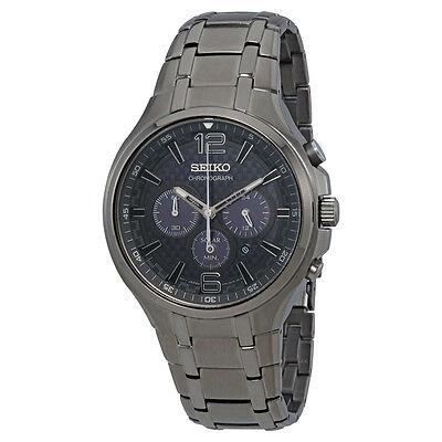 Seiko Men's SSC453 Recraft Solar Chronograph Gray Stainless Steel Watch