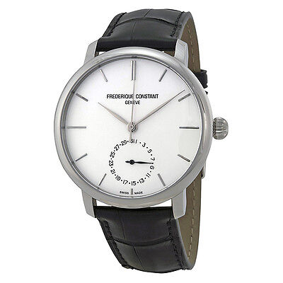 Frederique Constant Slimline Silver Dial Black Leather Watch FC-710S4S6