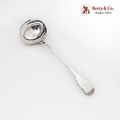 English Soup Ladle Crown Crest William Chawner II Sterling Silver 1819