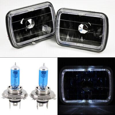 "7x6"" H4 Black Glass Halo Angel Eye Headlights Conversion w/ Bulbs RH LH Chevy"