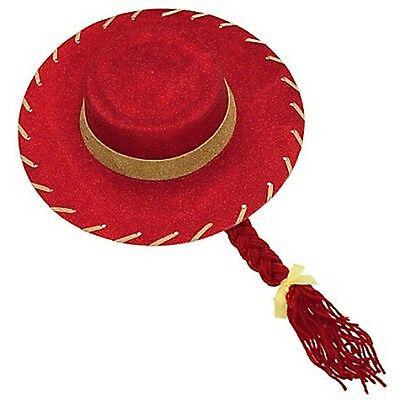 NEW DISNEY STORE TOY STORY 3 JESSIE COSTUME HAT & BRAID Red Sparkle NEW - Jessy Costume