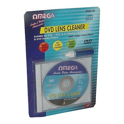 Omega CD VCD DVD Player Lens Laser+ Cleaning Fluid Head Dirt Cleaner Restore Kit
