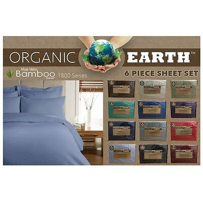 (Organic Earth Aloe Vera Bamboo 1800 Series 6 piece Sheet Set Deep Pockets Soft)