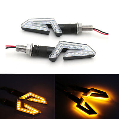 Universal Motorcycle Black LED Turn Signal Blinker Light For Honda Ducati Yamaha