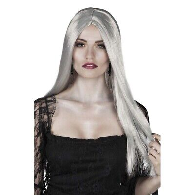 LANGE GRAUE HEXEN PERÜCKE # Halloween Langhaarperücke Vampir Damen Kostüm 86082 ()