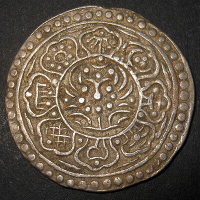 Silver Tibet Tangka Antique Dalai LAMA Coin LUCKY Symbols Ancient China Tibetan