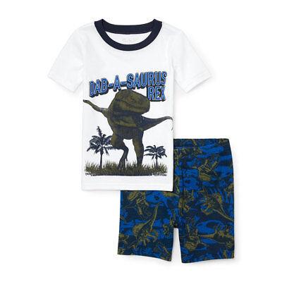 NWT The Childrens Place Dancing Dinosaur Boys Short Sleeve Pajamas Set