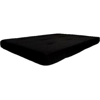 """Futon Mattress Only 6"""" Full Size Tufted w/ Twill Cotton Microfiber Cover Black"""