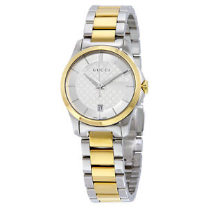 Gucci G-Timeless Silver Dial Two-tone Ladies Watch YA126531