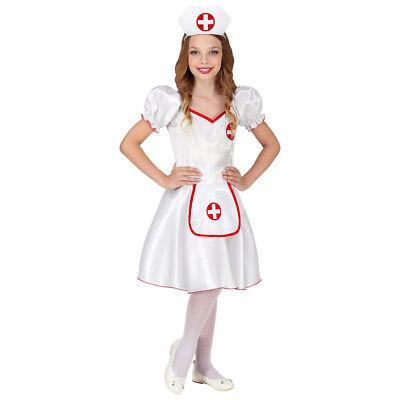 KRANKENSCHWESTER KOSTÜM & HAUBE KINDER Karneval Fasching Arzt Kleid Mädchen 8587 ()
