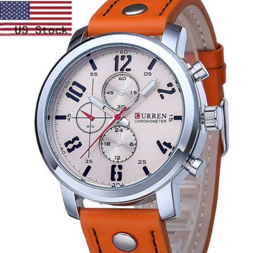 $8.93 - Curren Luxury Men's Quartz Sport Stainless Steel Dial Leather Band Wrist Watch