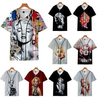Sexy Marilyn Monroe 3D Printed Baseball Uniform T-shirt - Sexy Baseball Uniform