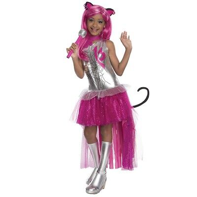 KINDER CATTY NOIR KOSTÜM Karneval Monster High Mädchen Katzen Kleid (Mädchen Kostüm Monster High)
