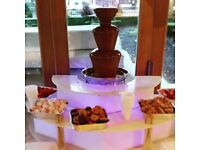 CHOCOLATE FOUNTAIN HIRE WITH ILLUMINATED STAND AND FRUIT PALM TREE FROM £150