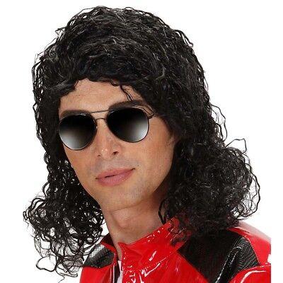 SCHWARZE POPSTAR PERÜCKE Sänger Musiker Super Star King of Pop Kostüm Party 0755 ()