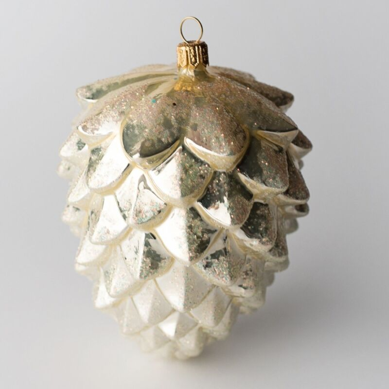 Offer+2+Gold+Pine+Cone+Christmas+Tree+Decoration+Bauble+Hand+Made+Glassware