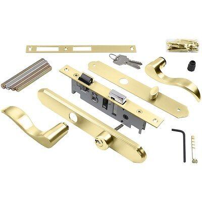 4-in Keyed Polished Brass Screen Door & Storm Door Mortise Latch Lock Set, NEW!