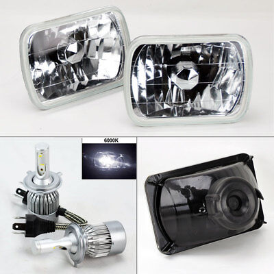 "7X6"" Clear Glass Headlight Conversion w/ 6000K 36W LED H4 Bulbs Pair RH LH Jeep"